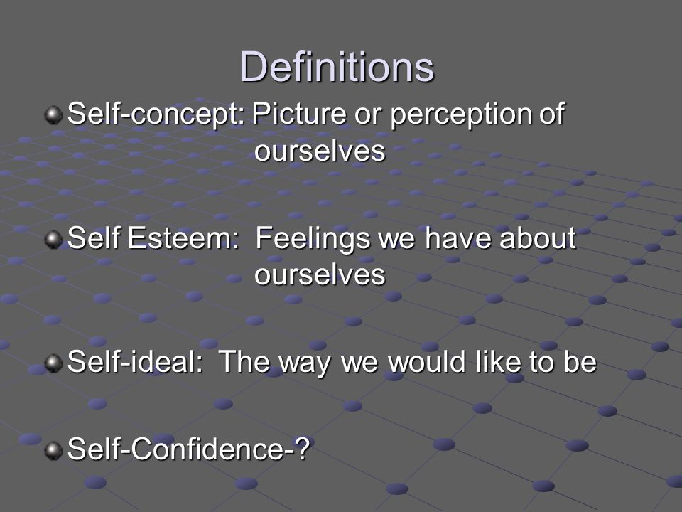Definitions Self-concept: Picture or perception of ourselves Self Esteem: Feelings we have about ourselves Self-ideal: The way we would like to be Self-Confidence-