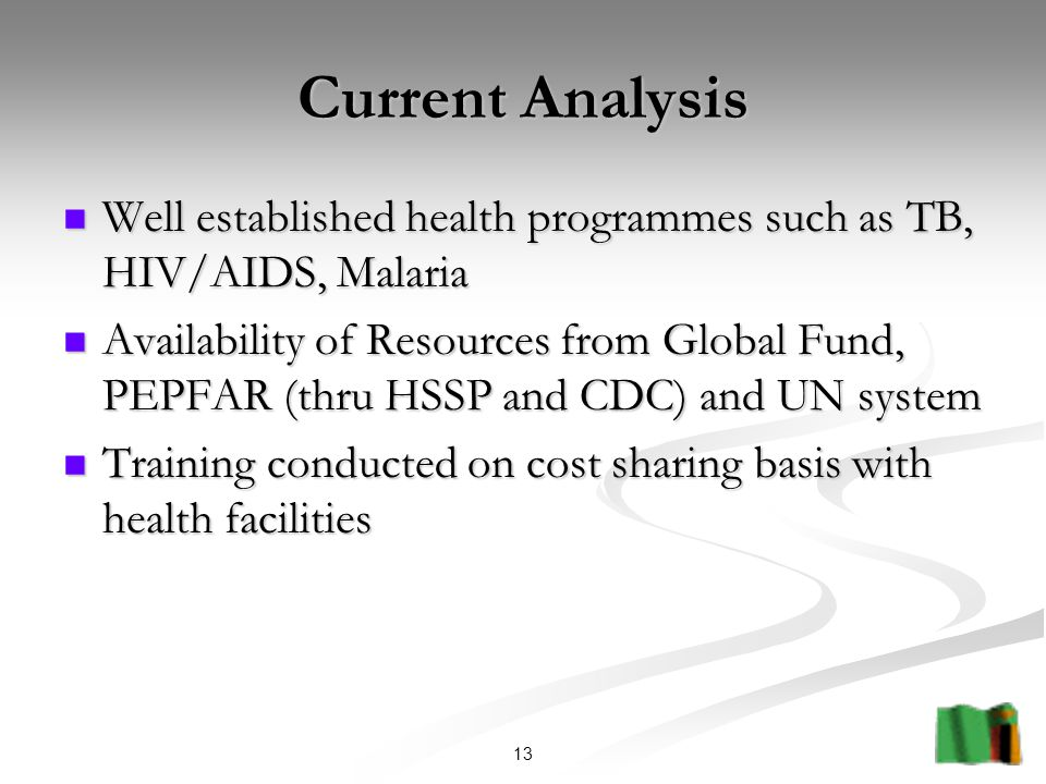 13 Current Analysis Well established health programmes such as TB, HIV/AIDS, Malaria Well established health programmes such as TB, HIV/AIDS, Malaria Availability of Resources from Global Fund, PEPFAR (thru HSSP and CDC) and UN system Availability of Resources from Global Fund, PEPFAR (thru HSSP and CDC) and UN system Training conducted on cost sharing basis with health facilities Training conducted on cost sharing basis with health facilities