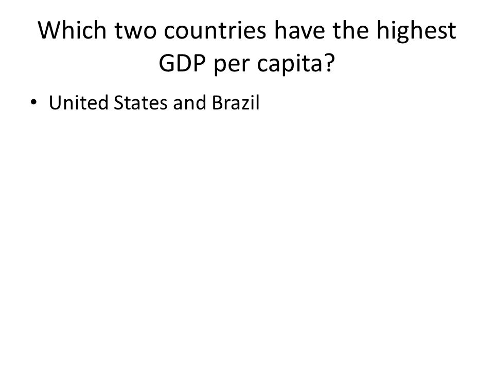 Which two countries have the highest GDP per capita United States and Brazil