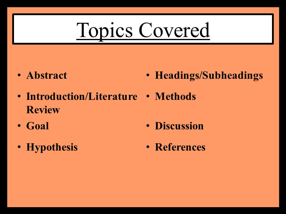 subheadings in a literature review