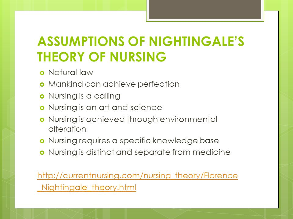 5 assumptions of nightingales theory