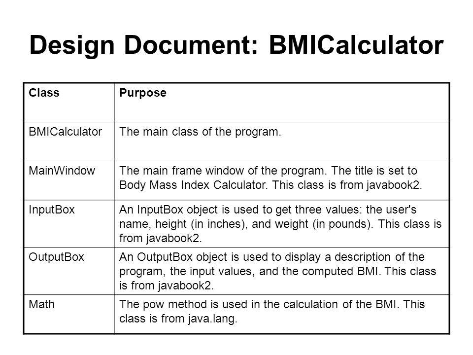 BMI Calculator Example Author: Rebecca Hasti, copyright 2000