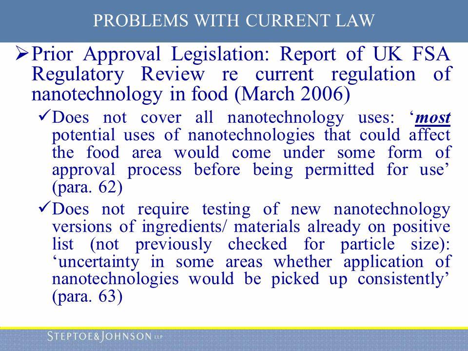 Regulation of Nanotechnology in Food Craig Simpson, Attorney