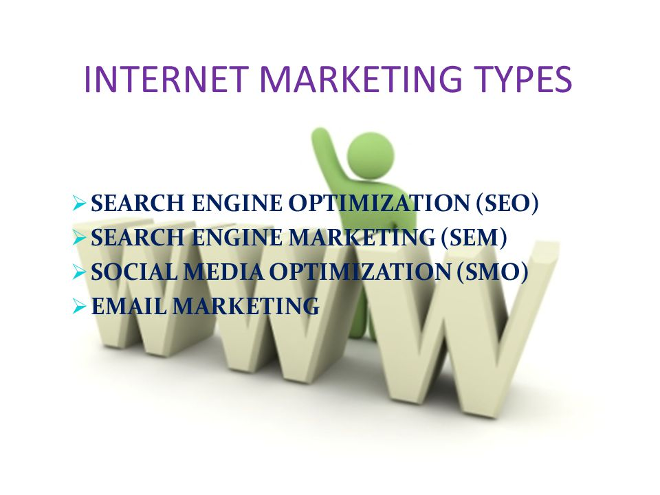 INTERNET MARKETING TYPES  SEARCH ENGINE OPTIMIZATION (SEO)  SEARCH ENGINE MARKETING (SEM)  SOCIAL MEDIA OPTIMIZATION (SMO)   MARKETING