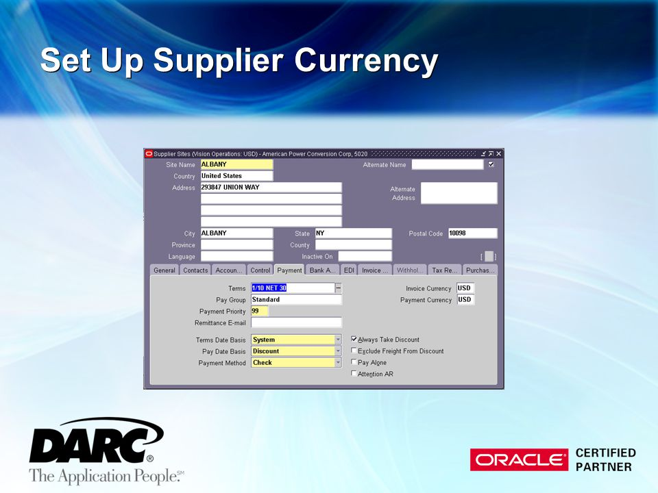 Set Up Supplier Currency