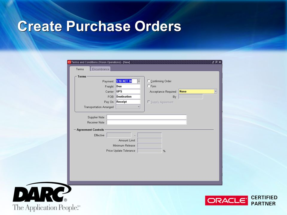 Create Purchase Orders