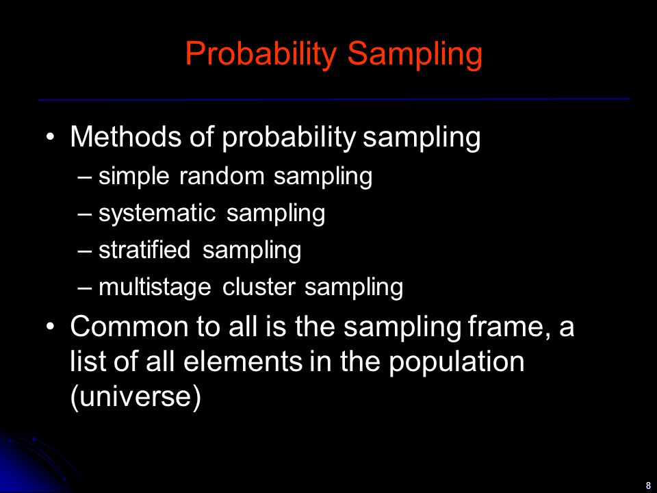 8 Probability Sampling Methods of probability sampling –simple random sampling –systematic sampling –stratified sampling –multistage cluster sampling Common to all is the sampling frame, a list of all elements in the population (universe)