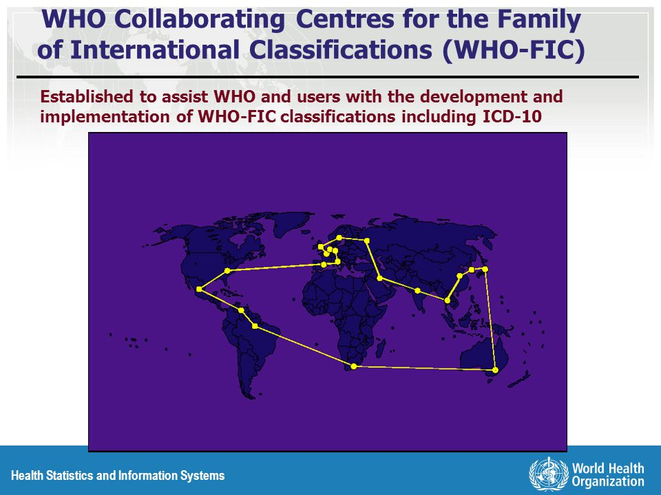 WHO Collaborating Centres for the Family of International Classifications (WHO-FIC) Established to assist WHO and users with the development and implementation of WHO-FIC classifications including ICD-10