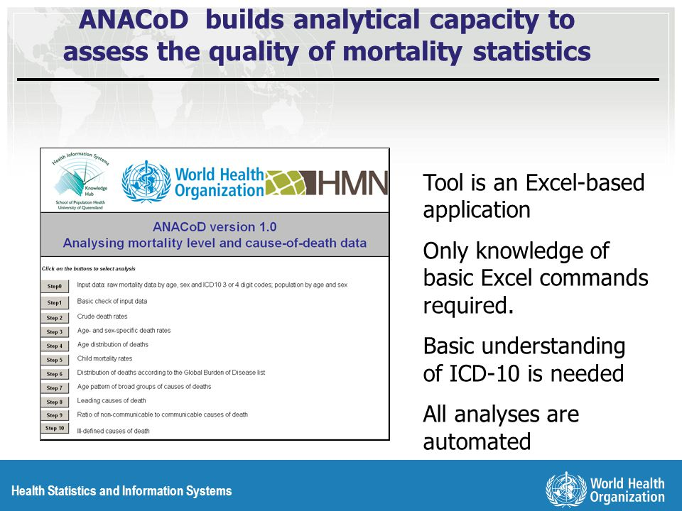 Health Statistics and Information Systems ANACoD builds analytical capacity to assess the quality of mortality statistics Tool is an Excel-based application Only knowledge of basic Excel commands required.