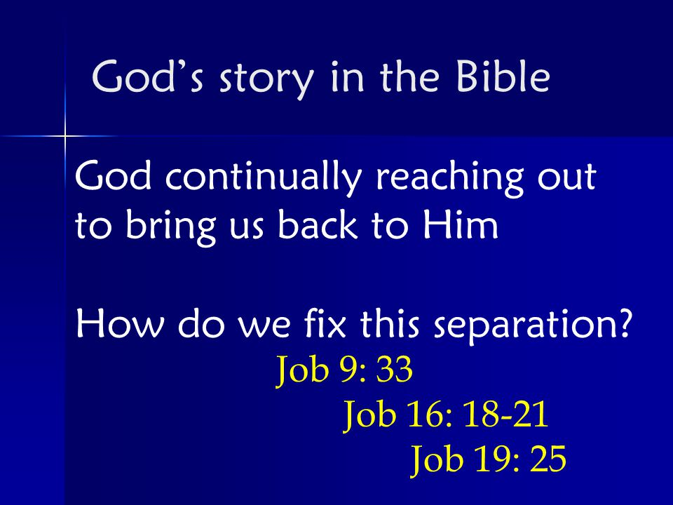 God continually reaching out to bring us back to Him How do we fix this separation.