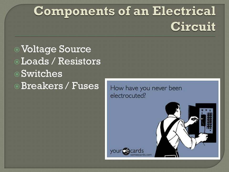  Voltage Source  Loads / Resistors  Switches  Breakers / Fuses