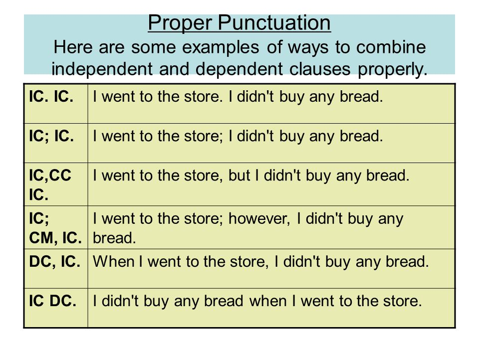 Proper Punctuation Here are some examples of ways to combine independent and dependent clauses properly.
