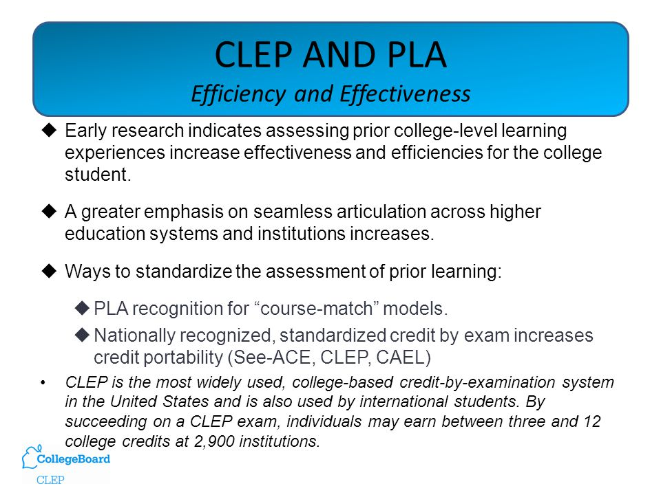 Clep And Pla Clep And Pla Using Credit By Exam To Demonstrate