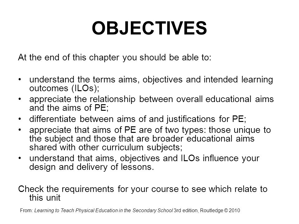 aims and objectives of education