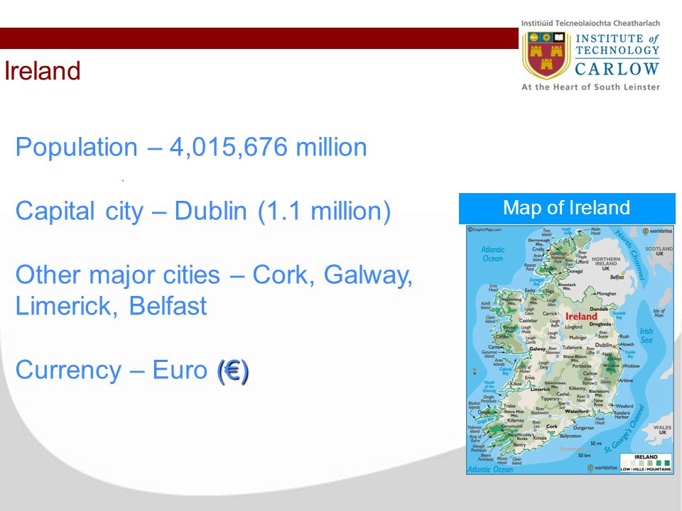 Map Of Ireland With Major Cities.Erasmus Experience At It Carlow In Ireland Ireland Map Of Ireland