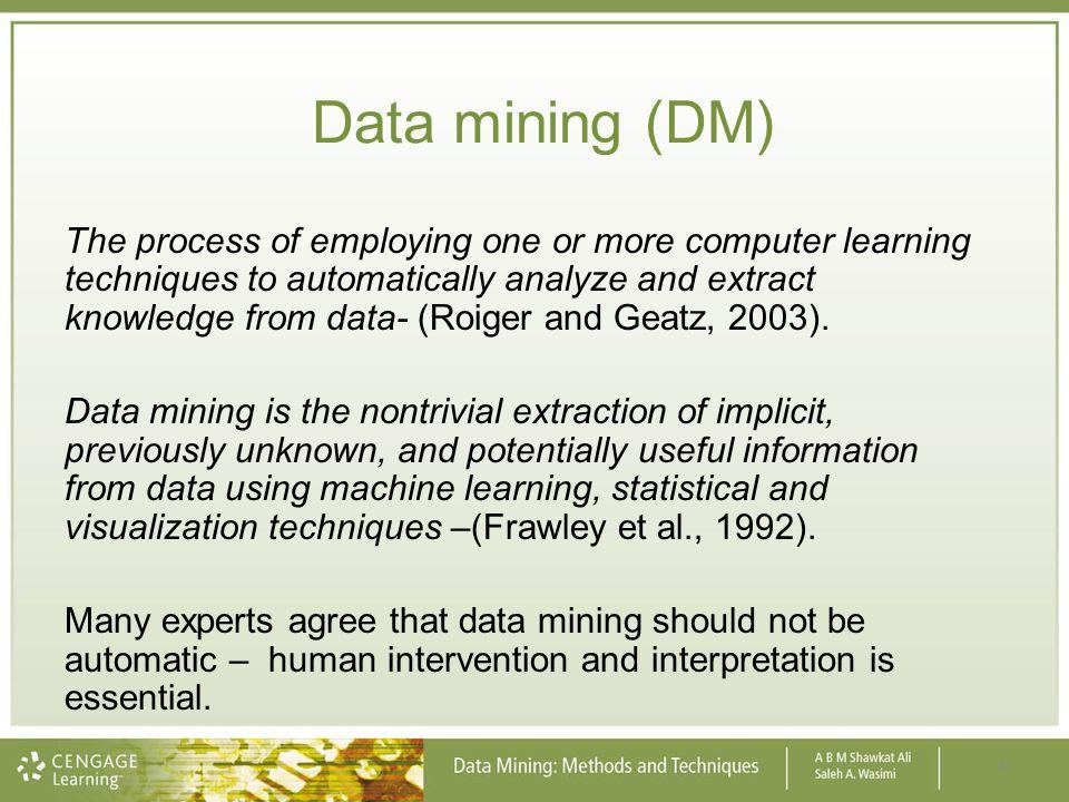 Data warehousing, data mining & data visualisation.