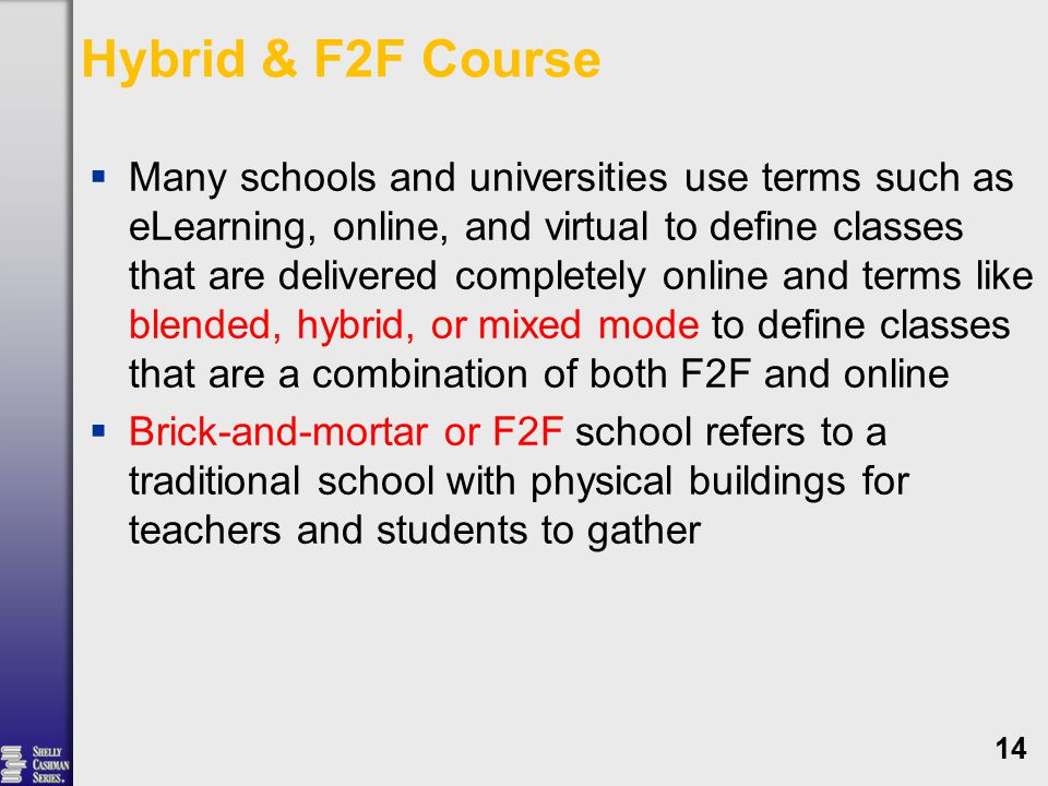 Hybrid & F2F Course  Many schools and universities use terms such as eLearning, online, and virtual to define classes that are delivered completely online and terms like blended, hybrid, or mixed mode to define classes that are a combination of both F2F and online  Brick-and-mortar or F2F school refers to a traditional school with physical buildings for teachers and students to gather 14