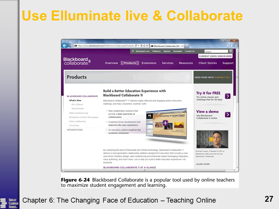 Use Elluminate live & Collaborate Chapter 6: The Changing Face of Education – Teaching Online 27