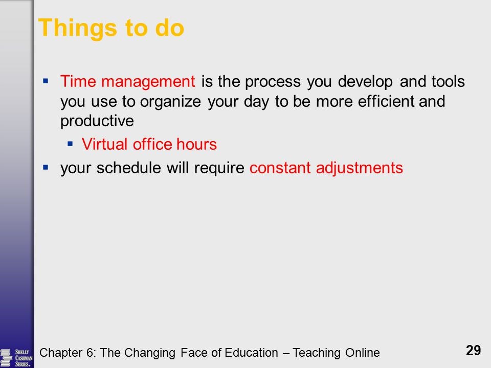 Things to do  Time management is the process you develop and tools you use to organize your day to be more efficient and productive  Virtual office hours  your schedule will require constant adjustments Chapter 6: The Changing Face of Education – Teaching Online 29