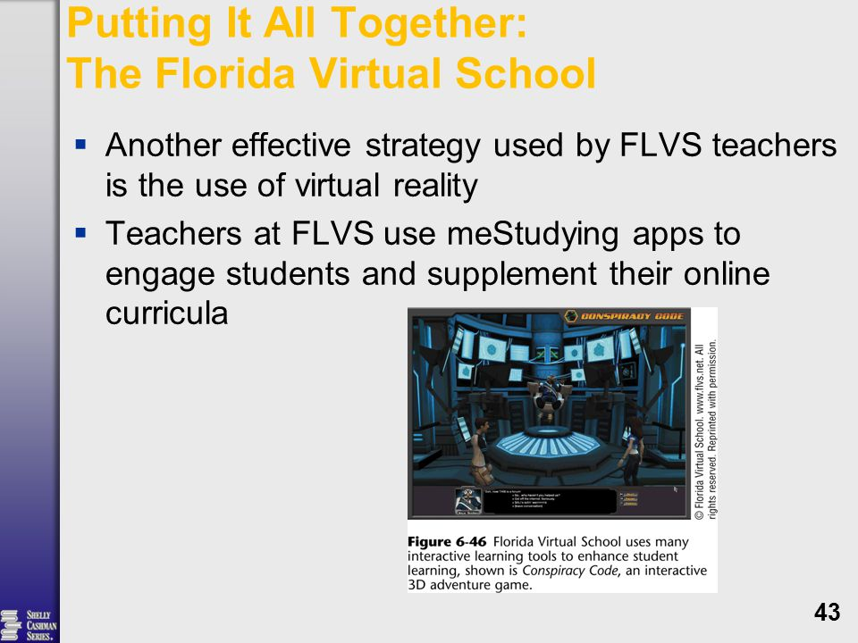 Putting It All Together: The Florida Virtual School  Another effective strategy used by FLVS teachers is the use of virtual reality  Teachers at FLVS use meStudying apps to engage students and supplement their online curricula 43