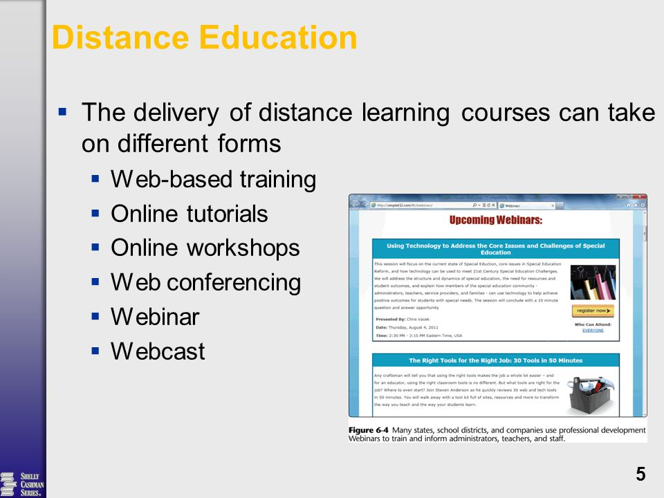 Distance Education  The delivery of distance learning courses can take on different forms  Web-based training  Online tutorials  Online workshops  Web conferencing  Webinar  Webcast 5