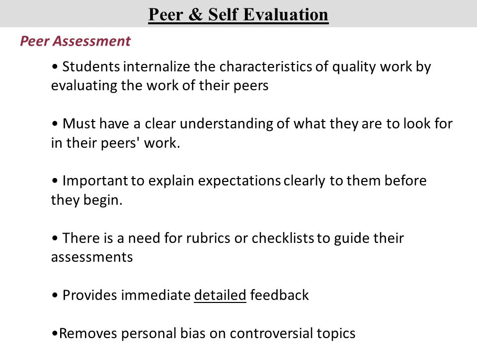 Peer Evaluation Dimensions Self Assessment Cooperation