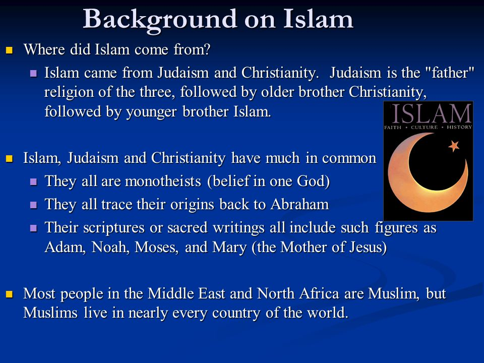 Background on Islam Where did Islam come from. Where did Islam come from.
