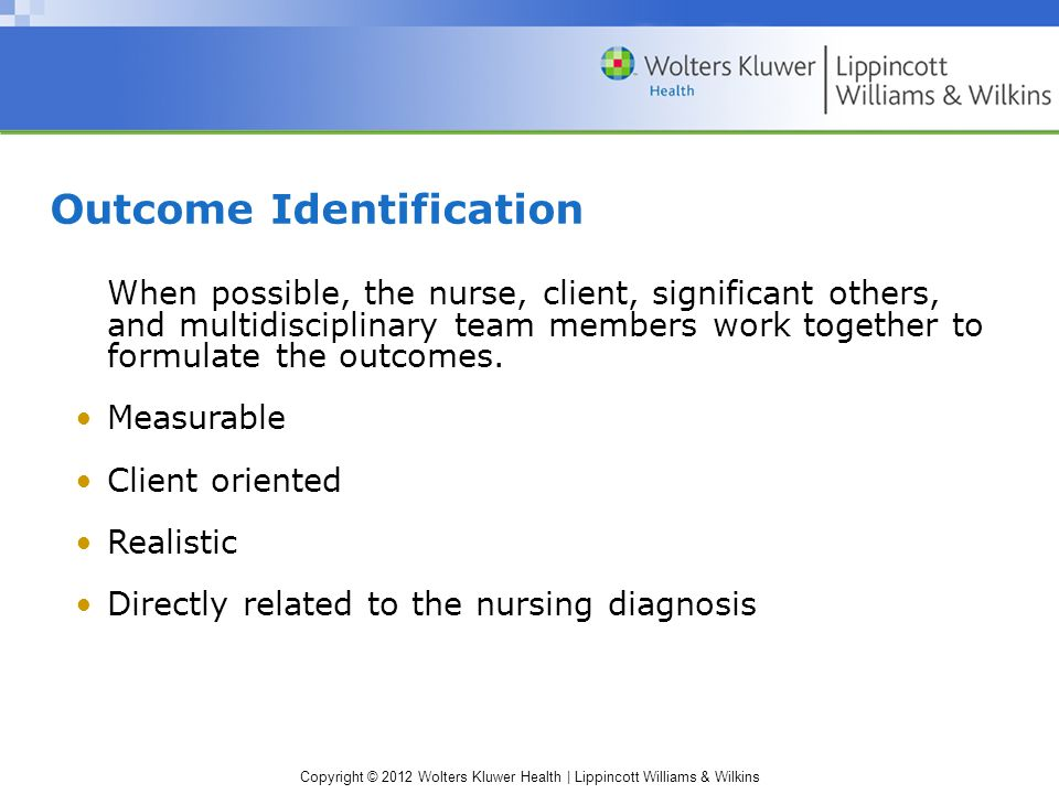 Copyright © 2012 Wolters Kluwer Health | Lippincott Williams & Wilkins Outcome Identification When possible, the nurse, client, significant others, and multidisciplinary team members work together to formulate the outcomes.