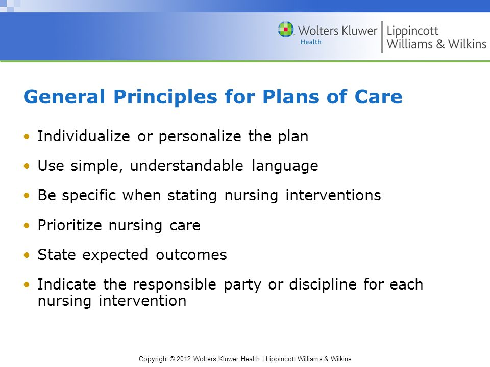 Copyright © 2012 Wolters Kluwer Health | Lippincott Williams & Wilkins General Principles for Plans of Care Individualize or personalize the plan Use simple, understandable language Be specific when stating nursing interventions Prioritize nursing care State expected outcomes Indicate the responsible party or discipline for each nursing intervention