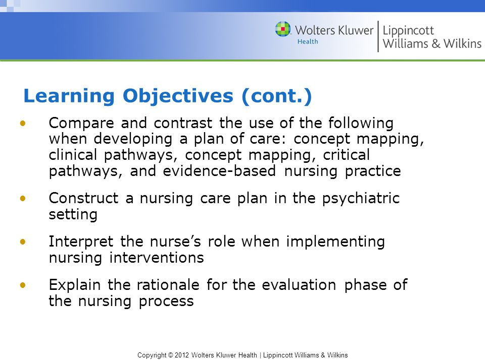Copyright © 2012 Wolters Kluwer Health | Lippincott Williams & Wilkins Learning Objectives (cont.) Compare and contrast the use of the following when developing a plan of care: concept mapping, clinical pathways, concept mapping, critical pathways, and evidence-based nursing practice Construct a nursing care plan in the psychiatric setting Interpret the nurse's role when implementing nursing interventions Explain the rationale for the evaluation phase of the nursing process