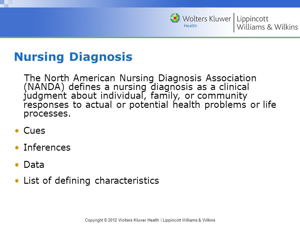 Copyright © 2012 Wolters Kluwer Health | Lippincott Williams & Wilkins Nursing Diagnosis The North American Nursing Diagnosis Association (NANDA) defines a nursing diagnosis as a clinical judgment about individual, family, or community responses to actual or potential health problems or life processes.