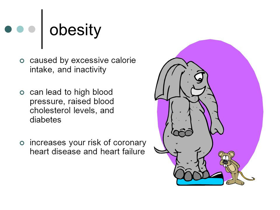 obesity caused by excessive calorie intake, and inactivity can lead to high blood pressure, raised blood cholesterol levels, and diabetes increases your risk of coronary heart disease and heart failure