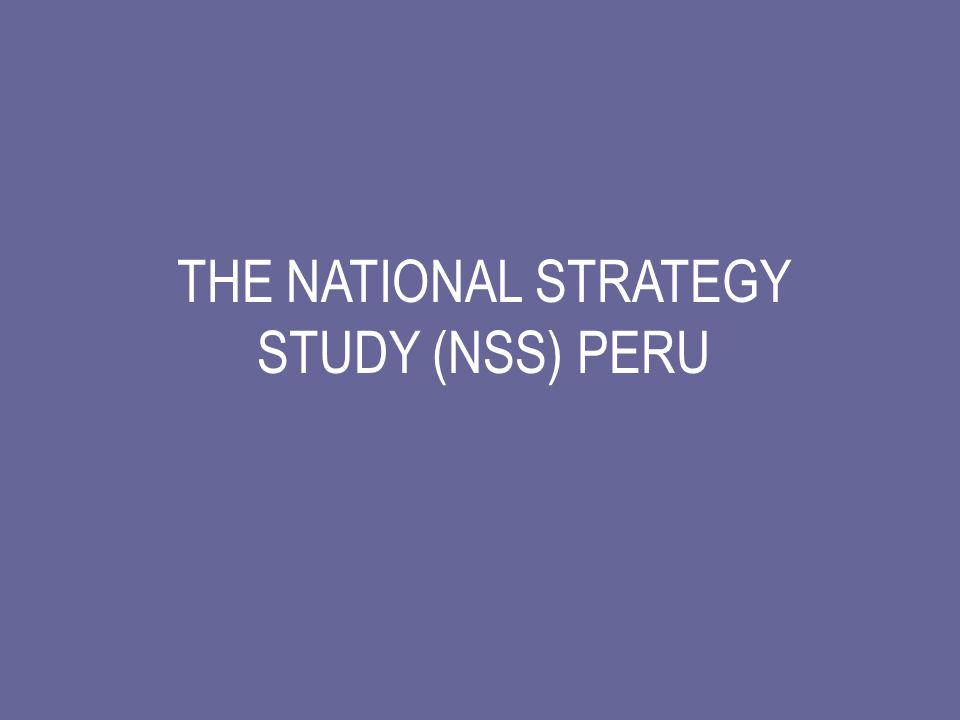 THE NATIONAL STRATEGY STUDY (NSS) PERU