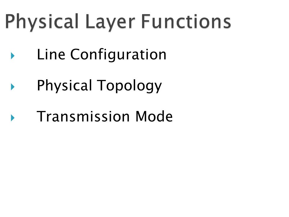  Line Configuration  Physical Topology  Transmission Mode