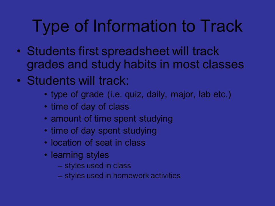 Creating an Excel Spreadsheet Course Tracking Sheet  - ppt