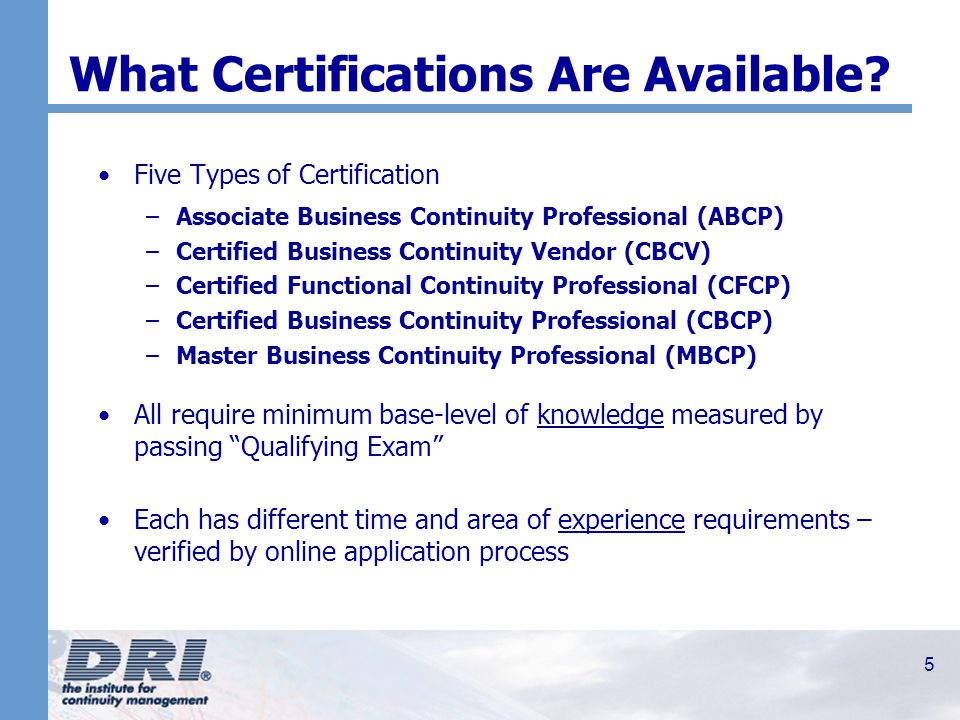 1 DRI International\'s Certification Process Professional ...