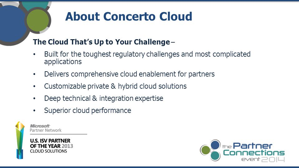 The Cloud That's Up to Your Challenge – Built for the toughest regulatory challenges and most complicated applications Delivers comprehensive cloud enablement for partners Customizable private & hybrid cloud solutions Deep technical & integration expertise Superior cloud performance About Concerto Cloud