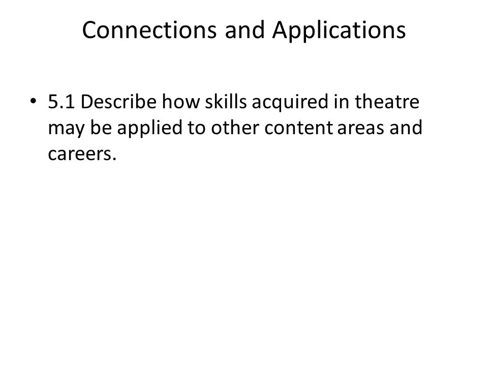 Connections and Applications 5.1 Describe how skills acquired in theatre may be applied to other content areas and careers.