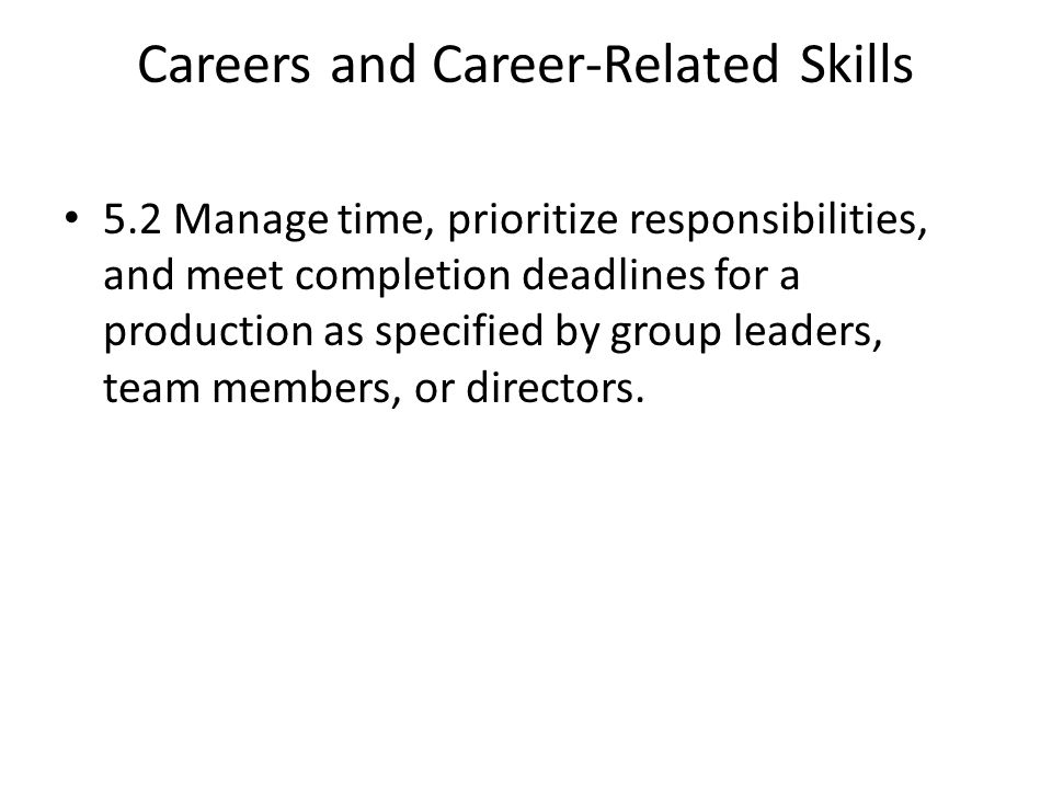 Careers and Career-Related Skills 5.2 Manage time, prioritize responsibilities, and meet completion deadlines for a production as specified by group leaders, team members, or directors.