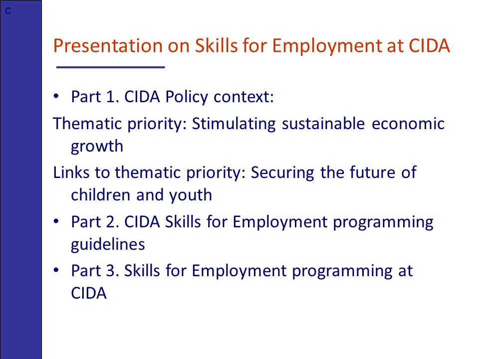 Presentation on Skills for Employment at CIDA Part 1.
