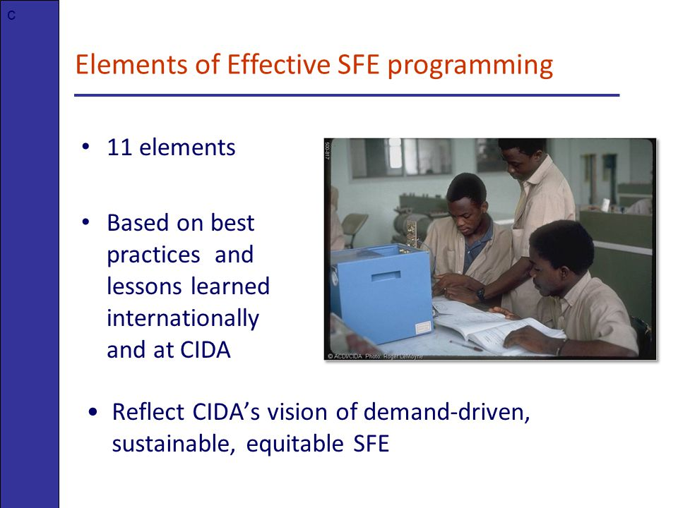 Elements of Effective SFE programming 11 elements Based on best practices and lessons learned internationally and at CIDA c Reflect CIDA's vision of demand-driven, sustainable, equitable SFE