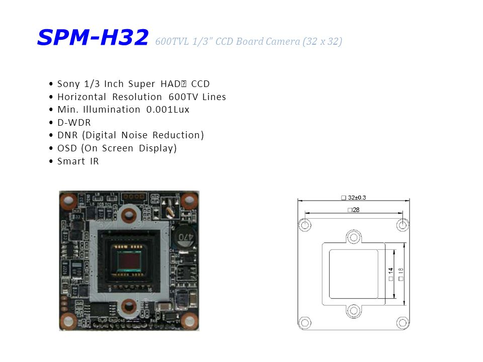 SPM-H32 600TVL 1/3 CCD Board Camera (32 x 32) Sony 1/3 Inch Super HAD Ⅱ CCD Horizontal Resolution 600TV Lines Min.