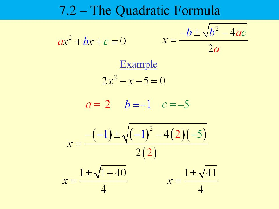 Example 7.2 – The Quadratic Formula