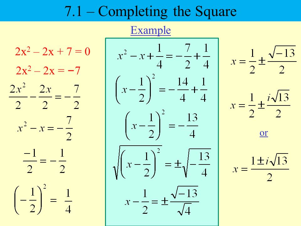 2x 2 – 2x + 7 = 0 2x 2 – 2x = – 7 or Example 7.1 – Completing the Square