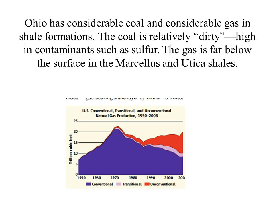 Ohio has considerable coal and considerable gas in shale formations.