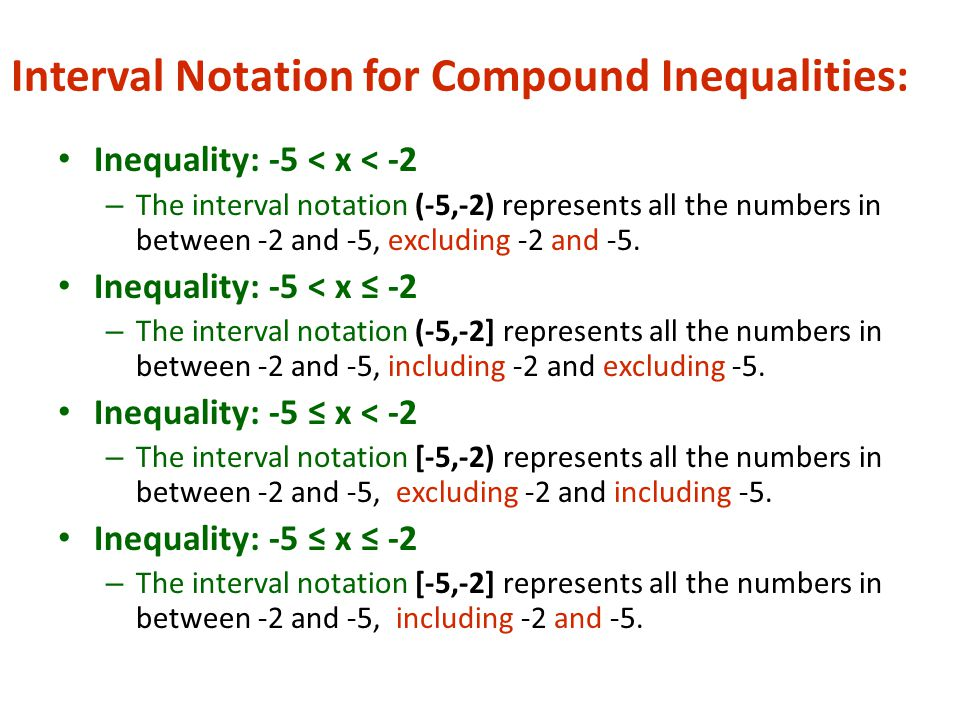 Interval Notation for Compound Inequalities: Inequality: -5 < x < -2 – The interval notation (-5,-2) represents all the numbers in between -2 and -5, excluding -2 and -5.