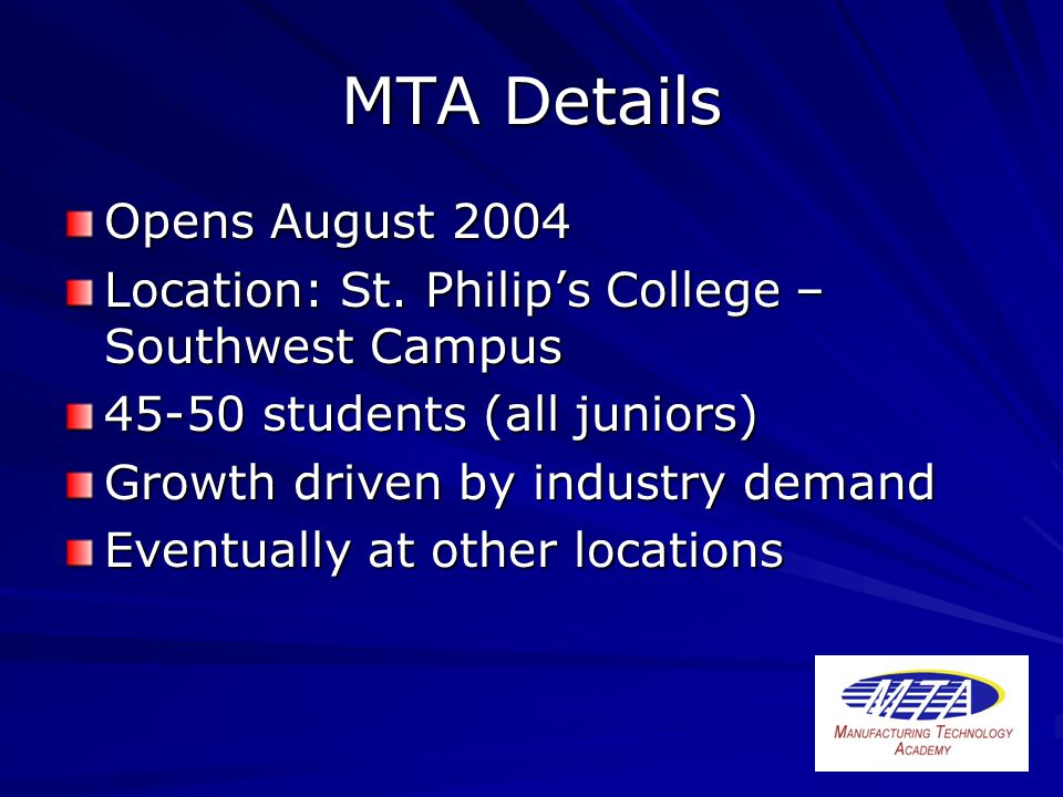 MTA Details Opens August 2004 Location: St.