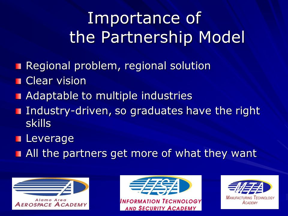 Importance of the Partnership Model Regional problem, regional solution Clear vision Adaptable to multiple industries Industry-driven, so graduates have the right skills Leverage All the partners get more of what they want