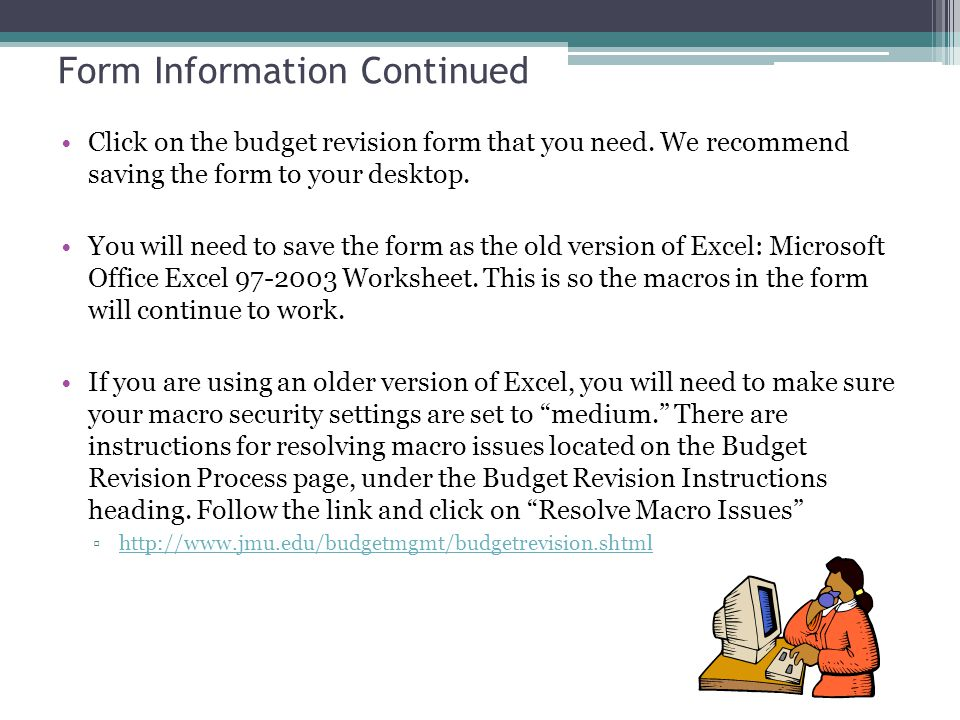 Form Information Continued Click on the budget revision form that you need.