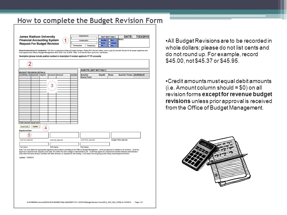How to complete the Budget Revision Form 1.- Enter the department name - Enter the name and phone number of person preparing the form - Select appropriate check box for the type of budget revision you wish to submit.